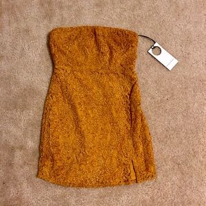 Golden Lace Strapless Mini Dress